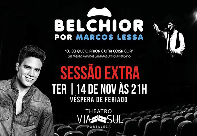 """Sessão Extra!  Ingresso Inteira Plateia Superior para o show """"Belchior por Marcos Lessa"""" no Theatro Via Sul por R$28. Cupons limitados!"""