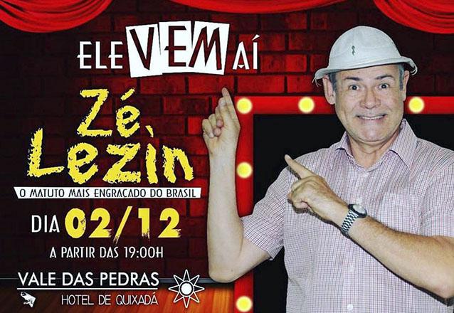 """Show de comédia e hospedagem perfeita no Vale das Pedras Hotel! 2 diárias para 2 pessoas com café da manhã + 01 Mesa no show do """"Zé Lezin"""" por R$459"""