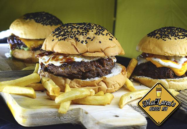 Oferta especial MacLaren's Burger Pub! Yellow Burger (160g de carne, cheddar, bacon e cebola no pão artesanal) por apenas R$12,90