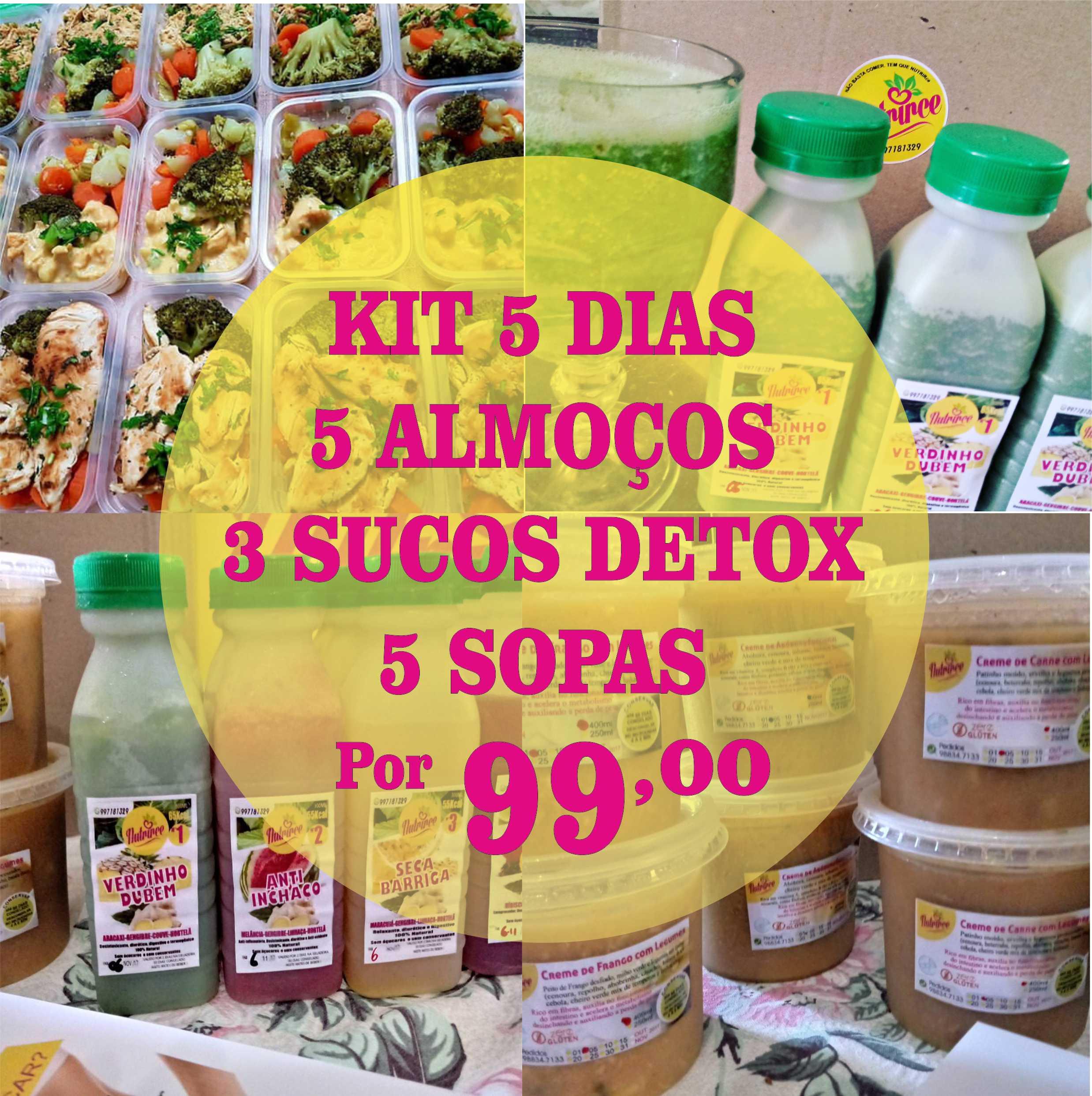 Kit 5 dias (5 Marmitas Integrais 350g cada + 3 Sucos Detox (300ml cada + 5 Sopas Detox 250ml cada) de R$150 por R$99