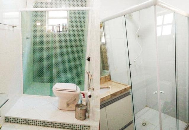 O melhor para o seu banheiro! Box Frontal para banheiro de até (1,10m x 1,9m) + Kit em alumínio natural fosco por R$384 na Acert Vidros