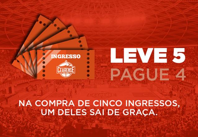 Combo Ingresso Superior Inteira para os 5 jogos do Basquete Cearense de R$100 por R$39,99