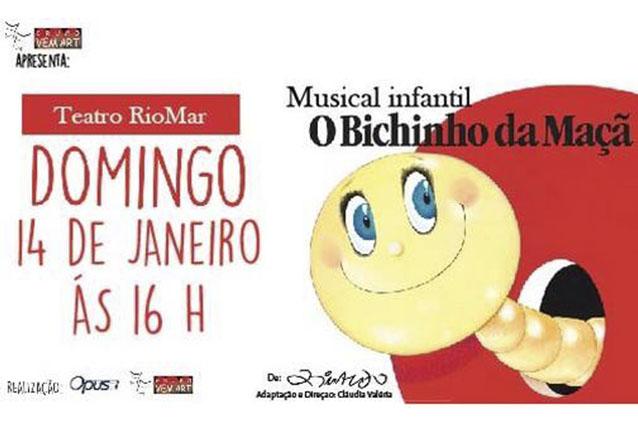 """O musical infantil de suceesso! Ingresso Inteira Plateia Alta para o musical infantil """"O Bichinho da Maçã"""" no Teatro RioMar por R$24"""