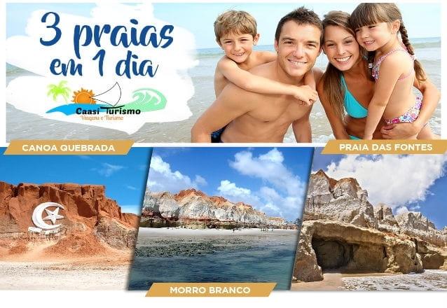 Um passeio pelas 3 praias mais bonitas do Ceará! Transporte para 1 pessoa para passeio por Morro Branco, Praia das Fontes e Canoa Quebrada por R$39,90
