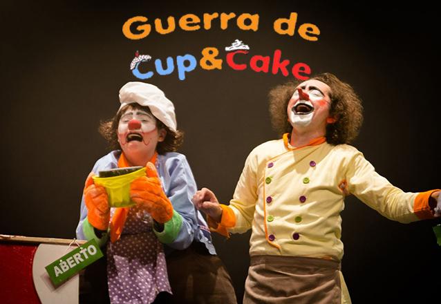 """Comédia Clownesca no Teatro Dragão do Mar! Ingresso Inteira para o espetáculo """"Guerra de Cup&Cake"""" de R$20 por apenas R$9,99"""