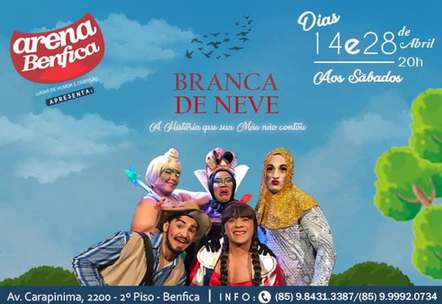 """Comédia da Branca de Neve no teatro! Ingresso inteira para """"Branca de Neve a História Que Sua Mãe Não Contou"""" no Shopping Benfica por R$9,99"""