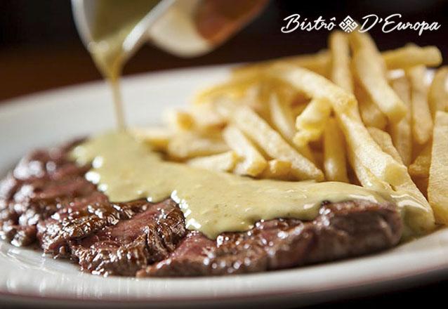 Um jantar especial combina com o Bistrô D'Europa Fortaleza! 2 Pratos Principais (Entrecôte com molho exclusivo, batatas rúticas ou fritas parisienses) + 2 Sobremesas por R$96,90