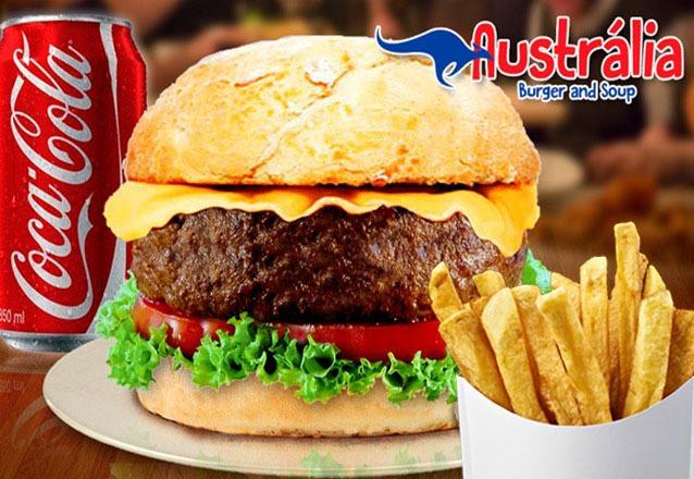 O lanche clássico! Hambúrguer Sidney + Batata Frita + 01 Refrigerante de R$26,90 por apenas R$19,90 no Australia Burger and Soup