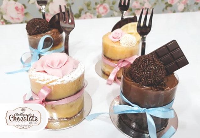 O bolo que é sucesso em qualquer festa na versão mini! 10 Mini Naked Cake por apenas R$59,90 na Boutique do Chocolate