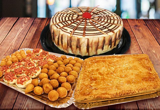 Kit festa para 15 pessoas com 1 Torta Mista + 100 salgadinhos fritos variados de R$80 por R$39,90