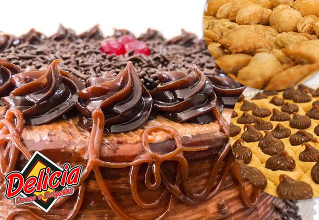 Sua festa combina com a Delícia Doces e Salgados! 1 Torta Doce para 20 pessoas + 100 Salgados + 50 Docinhos ou Torteletes por apenas R$35
