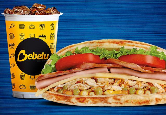 Combo Super Frango (frango desfiado, apresuntado, queijo muçarela, bacon, milho verde, ervilha, alface, tomate) + Refri (300ml) de R$19,40 por R$14,90