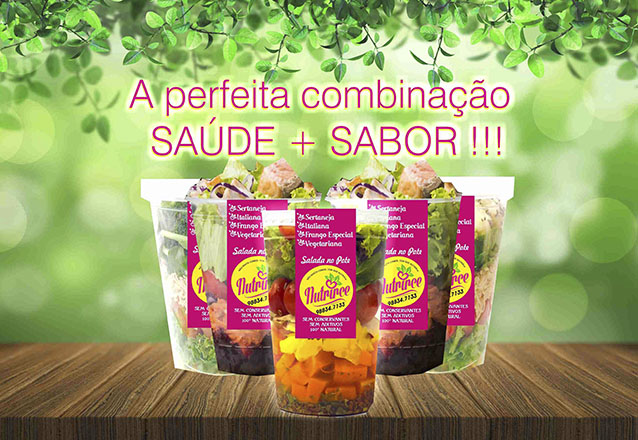 Melhore sua alimentação! Kit com 5 Saladas no Pote (Sertaneja, Frango Especial, Italiana e Vegetariana) de R$60 por apenas R$49 na Nutrirce