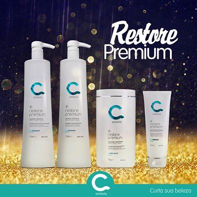 Amávia Cosméticos: Shampoo 1 Litro + Condicionador 1 Litro + Máscara + Defrizante da linha Restore Premium de R$383 por apenas R$279