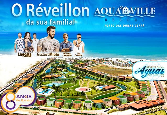 Aniversário do Barato com Ingresso Individual para Mesa compartilhada com Buffet La Maison Incluso + Cerveja, Água e Refri por R$450 (por pessoa) para o Réveillon das Águas no Aquaville Resort!