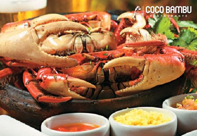 Quinta do caranguejo é no Coco Bambu Sul! 3 Caranguejos de R$30 por apenas R$22,50