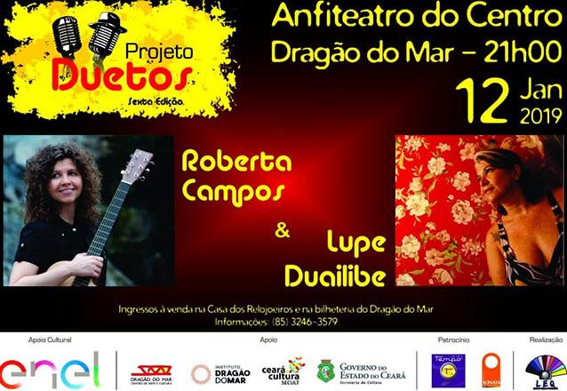 """Ingresso Inteira para o """"Projeto Duetos"""" com Roberta Campos e Lupe Duailibe no Anfiteatro do Centro Dragão do Mar de R$40 por apenas R$19,99"""