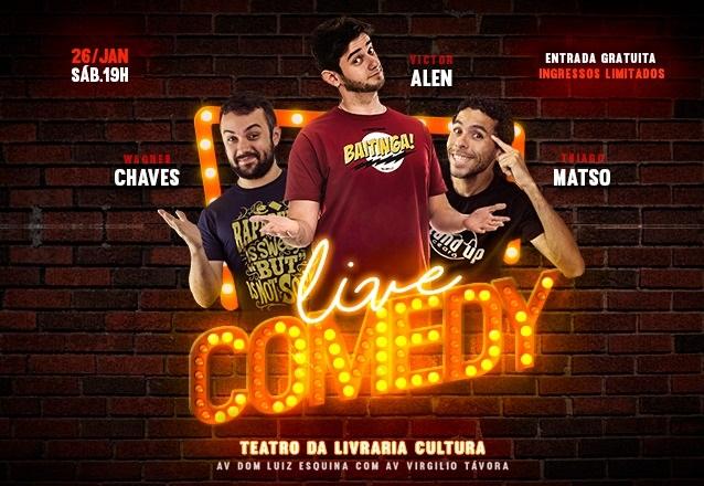 """Ingresso Inteira para o """"Live Comedy"""" com Victor Alen e Convidados no Teatro da Livraria Cultura. A entrada é gratuita, gere o seu cupom e mostre na bilheteria!"""