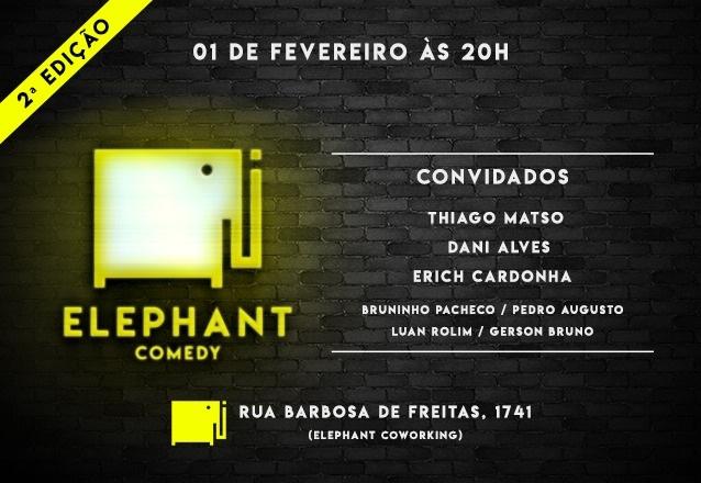 """Você merece se divertir! Ingresso Inteira para o """"Elephant Comedy - Noite de Stand up"""" com participação Especial de Thiago Matso, Dani Alves e convidados por R$9,99"""