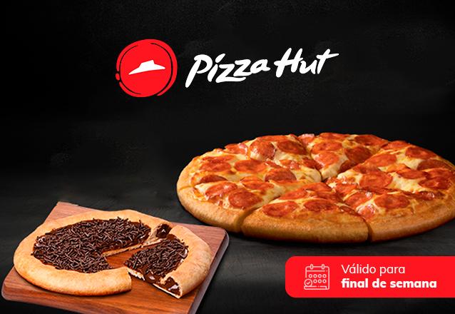 Pizza 8 fatias (Mussarela, Portuguesa, Calabresa ou Brasileira) com Borda Recheada + Pizza Chocolate Brigadeiro na Pizza Hut Beira Mar de R$87,70 por apenas R$49,90
