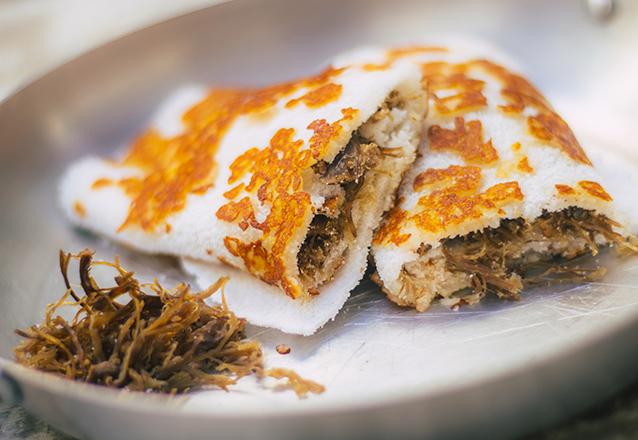 Tapioca com Crosta de Requeijão e Carne de Sol de R$19 por apenas R$13,90