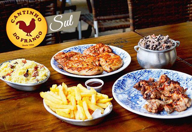 Cozinha premiada com pratos incríveis! Cantinho do Frango Sul! Entrada + Prato Principal + Acompanhamentos para até 4 pessoas de R$102,59 por apenas R$69,90
