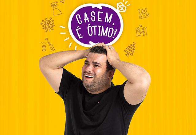 """Ingresso Inteiro Mezanino para o espetáculo """"Casem, é ótimo com Rafa Cunha"""" de R$60 por apenas R$28,40"""