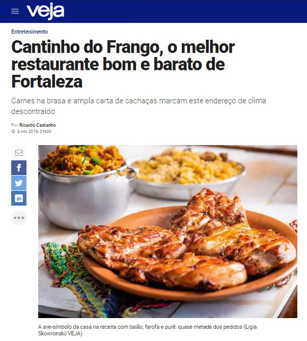 Os pratos irresistíveis do Cantinho do Frango Aldeota! Premiado pelo Sabores da Cidade e pela Veja Comer e Beber de 2018! Entrada + Prato Principal + Acompanhamentos para até 4 pessoas de R$102,59 por apenas R$79,90