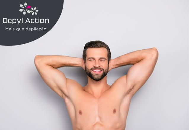 Para o homem que se cuida! Combo de depilação masculina (Tórax + Abdômen + Região Dorsal + Lombar) de R$112,50 por apenas R$78,90 na Depyl Action