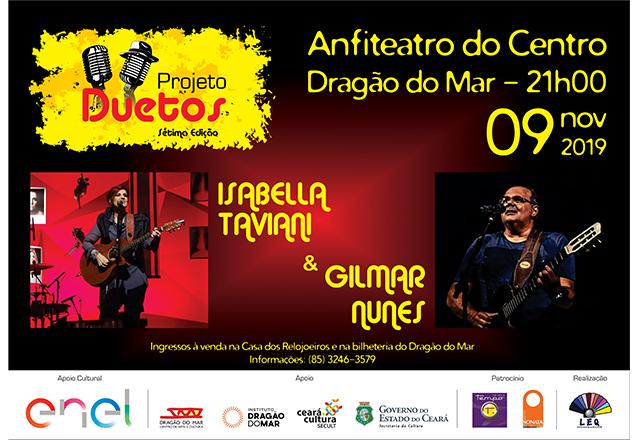 Imperdível! Ingresso Inteira por apenas R$20 para o show com Isabella Taviani e Gilmar Nunes no dia 09/11 às 21h no Anfiteatro do Dragão do Mar