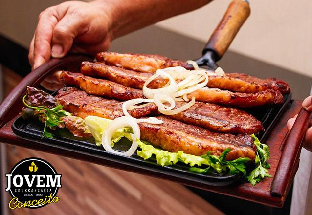 Picanha Suína acompanhado com baião ou arroz, batata frita ou macaxeira, farofa e vinagrete para 2 pessoas por apenas R$32,99