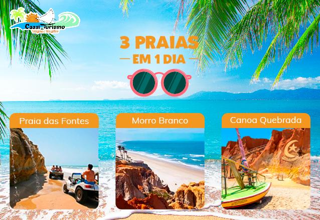 Conheça o lindo Litoral do Ceará! Passeio 3 Praias em 1 dia (Morro Branco, Praia das Fontes e Canoa Quebrada) + 01 Capa à prova d'água por apenas R$49,90 na Caasi Turismo