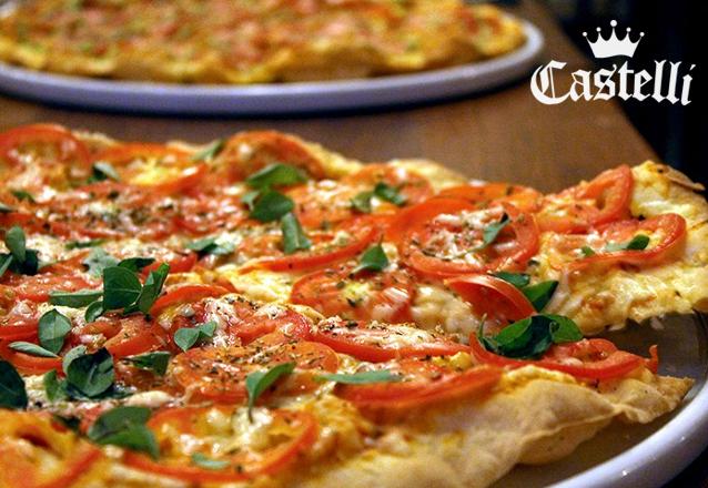 Uma das melhores Pizzas de Fortaleza! Pizza Grande, fina e crocante de R$33 por apenas R$24,90 no Castelli Restaurante