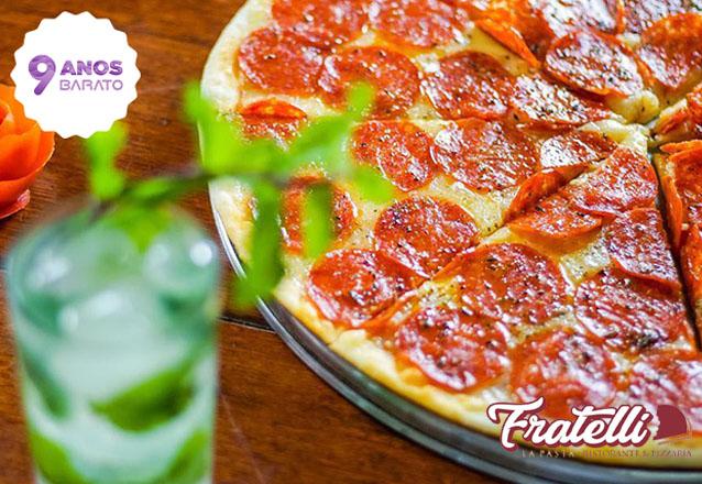 Oferta exclusiva de aniversário! Rodízio de pizzas e esfihas de R$24,90 por apenas R$17,90 com a qualidade do Fratelli La Pasta