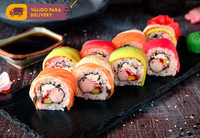 Combinado Sushi 10 peças (Sushis Uramakis, Hossomakis e Hots sabores variados, múltiplos de 5 un) por apenas R$9,90