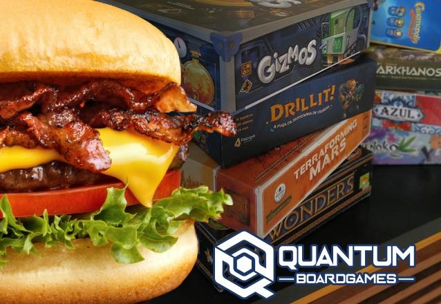 Sabor + Diversão! Super Hambúrguer + Petiscos especiais + Centenas de Jogos de Tabuleiro à disposição de R$30 por apenas R$23,99