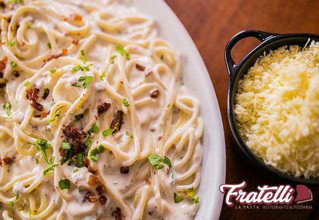 Rodízio de qualidade é no Fratelli La Pasta! Rodízio de Pizzas, Massas e Sobremesas de R$34,90 por apenas R$31,90. Aproveite as férias!