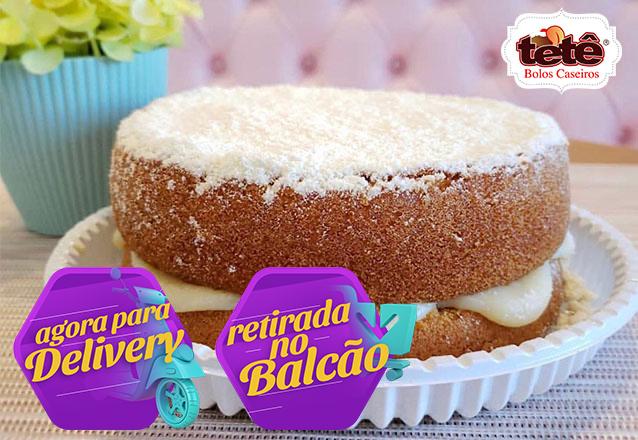 Bolo caseiro que todo mundo ama! Naked Cake de Ninho para 20 pessoas por apenas R$45 na Tetê Bolos. Válido para Delivery!