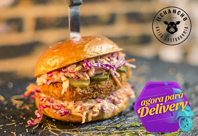 Burger Premiado + Barato com Delivery! 1 Cheeseburger, Kentucky, Smash Pork ou Burger de Falafel de R$24 por apenas R$15,90 no El Chancho