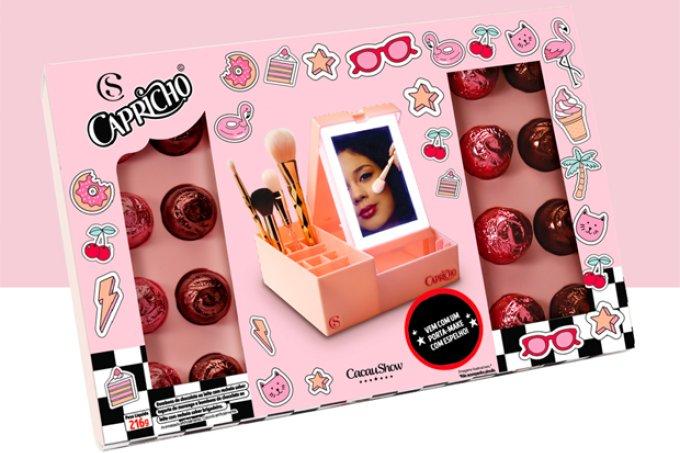 O Presente perfeito! 1 Caixa Porta Make Capricho com trufas (216g) de R$89,90 por R$62,90