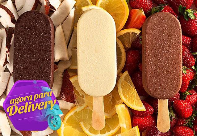 Para refrescar! 2 picolés de iogurte grego + 1 picolé de açaí + 1 picolé de mousse de morango de R$43,60 por apenas R$32,70 na Cacau Show