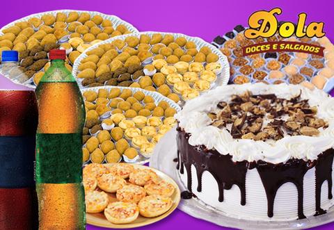01 Torta Doce para 20 pessoas + 100 Salgados variados + 01 Refrigerante 2 Litros de R$160 por apenas R$79,99