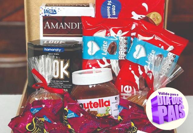 Cesta 1: 1 Caixinha Amandita + 1 Biscoito LooK + 1 Nutella + 4 Pão de Mel + 2 Barra de Chocolates + 1 Caixa de Chocolate + 10 Sonhos de Valsa