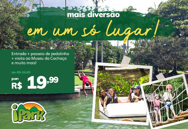 """Oferta especial para a """"Reabertura do iPark"""" no mês de outubro! Ingresso de entrada + passeio de pedalinho + visita ao Museu da Cachaça + banho de piscina e muito mais de R$ 39,90 por apenas R$19,99"""