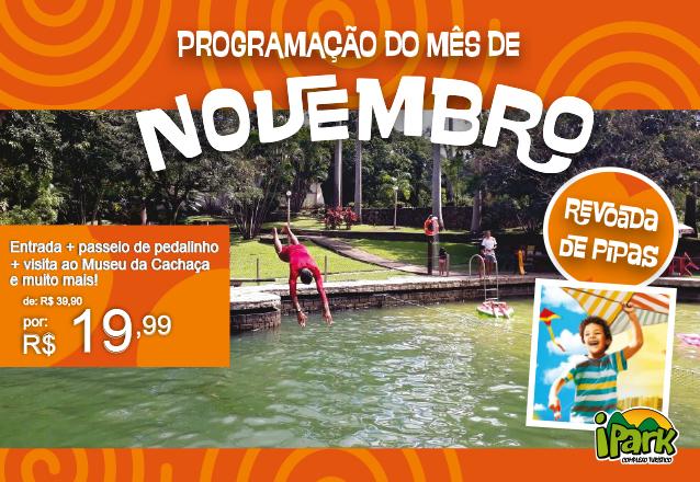 """Oferta especial para a """"Reabertura do iPark"""" no mês de outubro e novembro! Ingresso de entrada + passeio de pedalinho + visita ao Museu da Cachaça + banho de piscina e muito mais de R$ 39,90 por apenas R$19,99"""