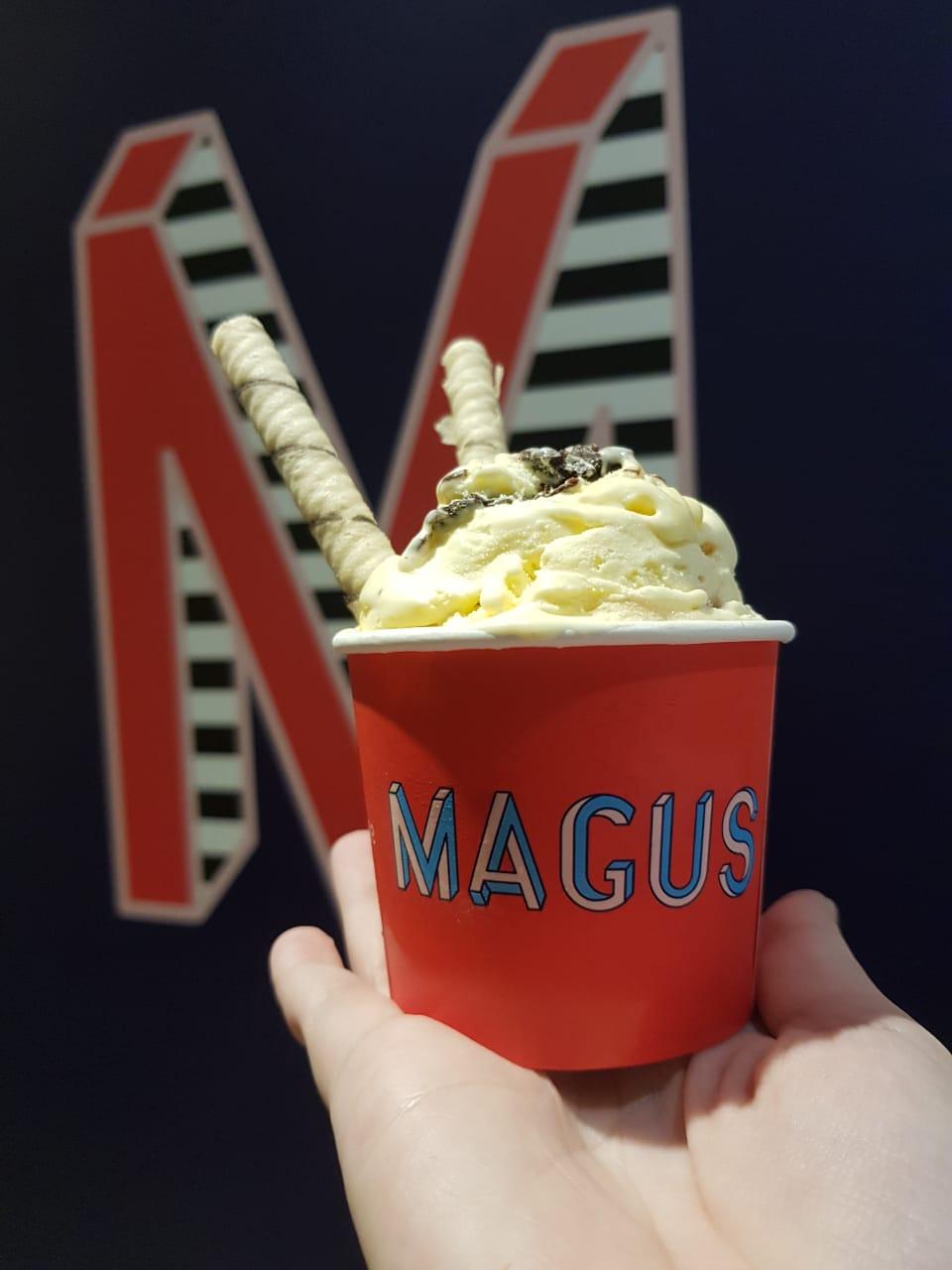 Oferta exclusiva de Aniversário! Bordinha de bolo + calda + gelato + topping por R$8,99 na Magus