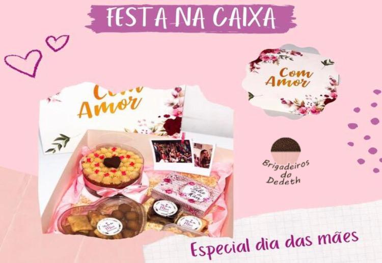 Dia das mães incrível com Brigadeiros da Dedeth!! Festa na caixa com Naked Cake + 15 salgados + 2 brownies + 6 doces gourmets + 1 bolo de pote + 2 fotos polaroides de R$149,90 por apenas R$99,90 Válido para Delivery!