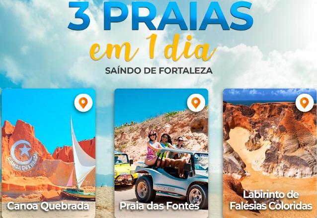 A Fidel Turismo te leva pro seu melhor destino!! Passeio de 3 praias em 1 dia saindo de Fortaleza (Canoa Quebrada, Praia das fontes e Labirinto das falésias) de R$80 por apenas R$59