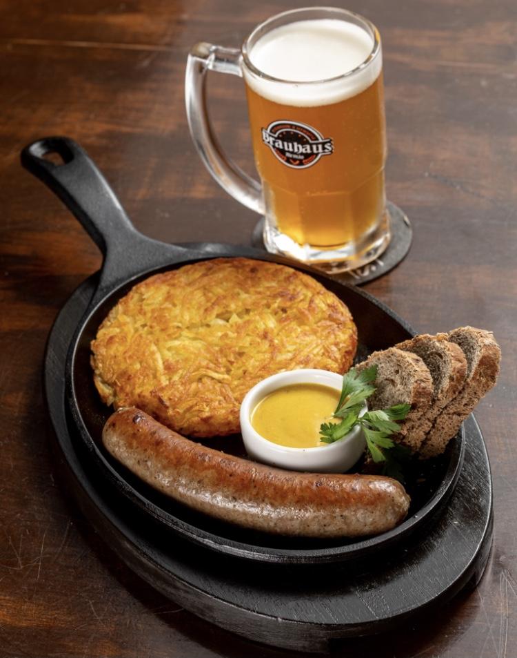 Tudo que você precisa em uma só combo!! Combo Munique: 1 Litro de Chopp + 1 salsicha artesanal + batata rosti de R$60 por apenas R$49,90