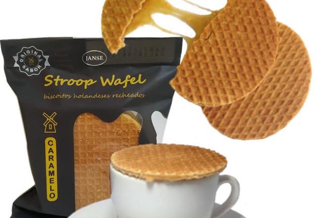 A Nova guloseima que é tendência: Biscoitos Stroopwafel! Pacote (recheio de Limão, Café, Caramelo, Chocolate ou Goiabada) com 5 unidades por apenas R$9,99